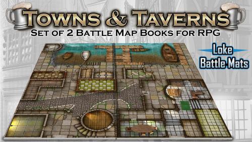Towns & Taverns. 2 Modular Books of Battle Mats for Roleplay