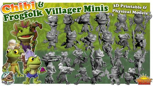 Frog Folk Villagers - 3D Printable & Physical Model + CHIBI