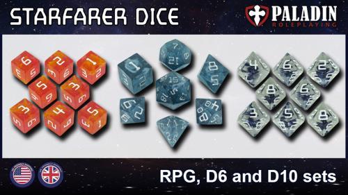 Starfarer Sci-Fi Dice - Polyhedral RPG, D6 and D10 sets