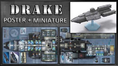 Drake: Starship Map & Miniature