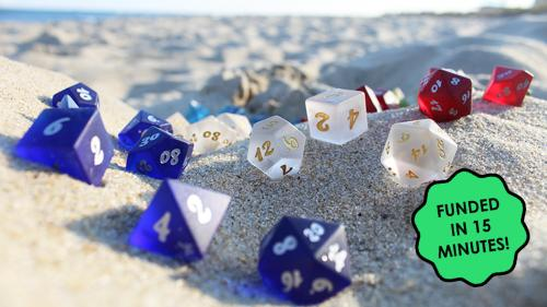 Sea Glass Dice - Frosted Glass Dice Sets for RPG Gaming
