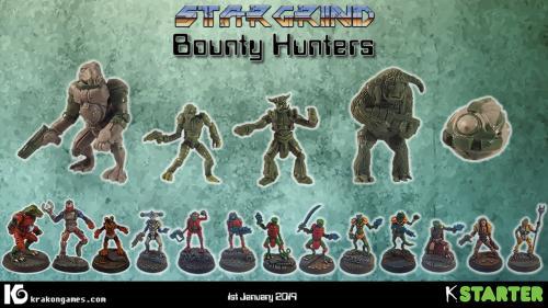 Stargrind : Bounty Hunters. 28mm sci-fi miniatures
