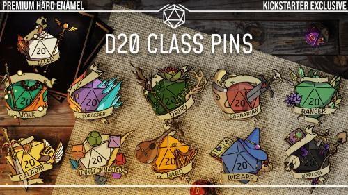 D&D D20 Class Pins