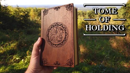TOME OF HOLDING: The hardwood dice box and rolling tray.