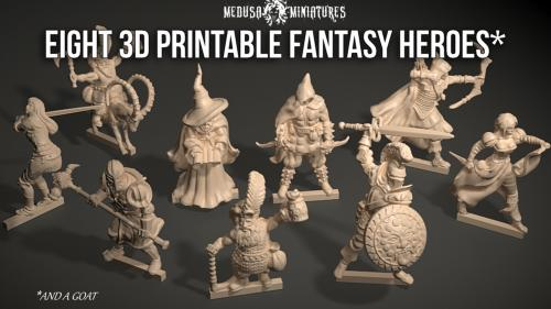 Eight 3d Printable Fantasy Heroes for Tabletop Gaming