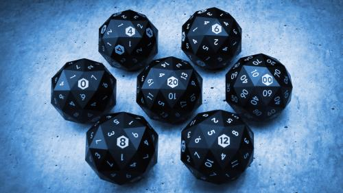 Precision Milled Metal 60-Sided D20 and Full Set of RPG Dice