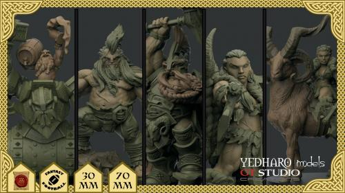Dwarf Miniatures by Yedharo Models and GT Studio Creations.