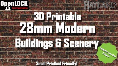28mm Modern Buildings & Scenery - OpenLOCK - 3D Printable