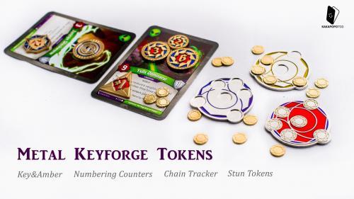 Metal KeyForge Tokens, Counters, Keys, Amber, Chain Tracker