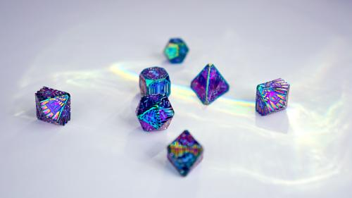 Solid Brass Rainbow Serpentine Dice by Polyhydra
