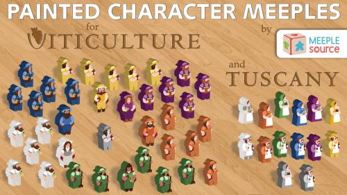 Painted Character Meeples for Viticulture and Tuscany!