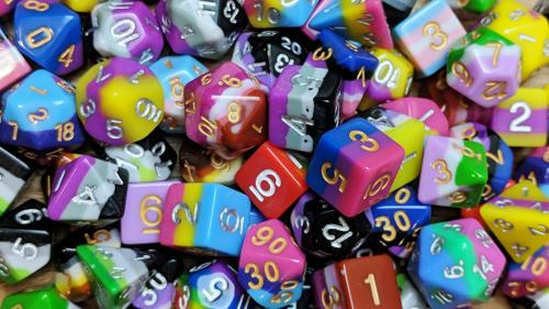 Pride Flag Polyhedral Dice for Tabletop Roleplaying Games