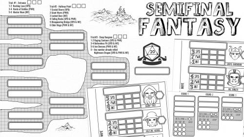 Semifinal Fantasy - Roll & Write Dungeoncrawl Management