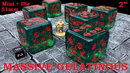 Massive Gelatinous Cube - 51mm Mini and Die - Six-Sided Die