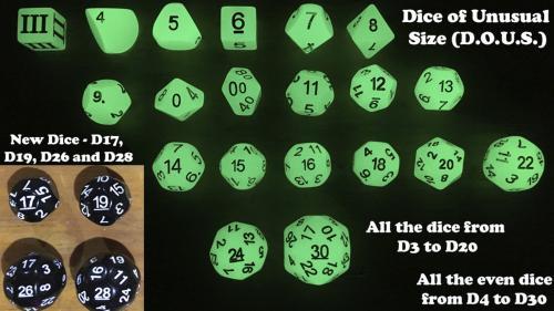 D20 / D30 RPG & DCC Dice Chain Sets -New D17, D19, D26 & D28