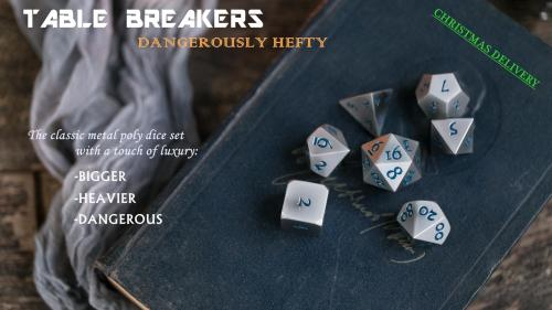 """""""Table Breakers"""" - Super Heavy Solid Metal Poly Dice Set"""