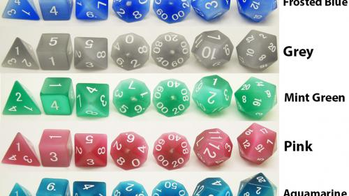 Relaunch: Cat s Eye Gemstone Dice Sets, d6 s, and d20 s