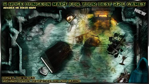 4 Huge Dungeon map for 5th Edition and Pathfinder RPG S
