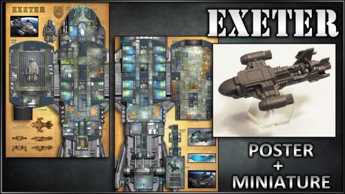 Exeter: Starship Map Poster & Miniature