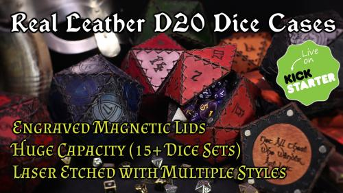 Engraved Leather D20 Dice Cases
