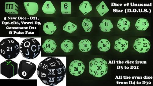 D.O.U.S. - Dice of Unusual Size - D21, D36, Pulse & Alphabet