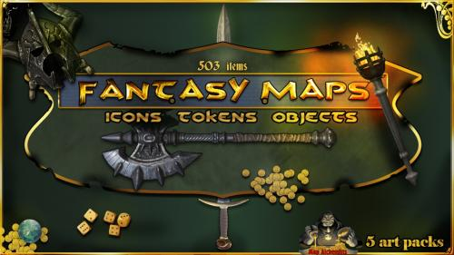 Fantasy Maps Icon /token/Objects set 5 combined art pack